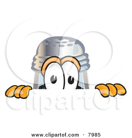 Clipart Picture of a Pepper Shaker Mascot Cartoon Character Peeking Over a Surface by Toons4Biz