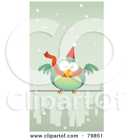 Royalty-Free (RF) Clipart Illustration of a Chubby Green Christmas Bird Wearing A Santa Hat And Scarf, Perched On A City Wire In The Snow by Qiun