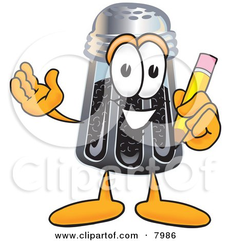 Clipart Picture of a Pepper Shaker Mascot Cartoon Character Holding a Pencil by Toons4Biz
