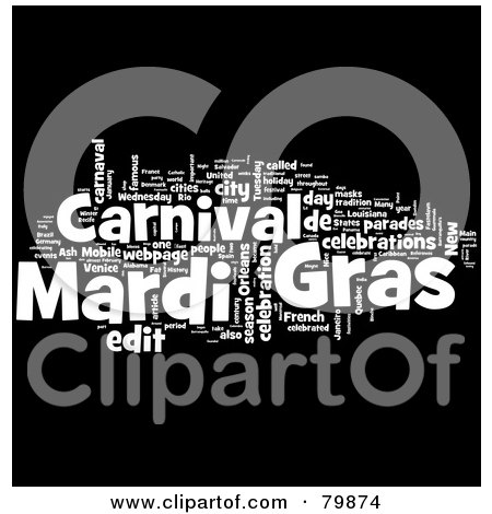 Royalty-Free (RF) Stock Illustration of a Collage Of Words; Mardi Gras - Version 1 by MacX