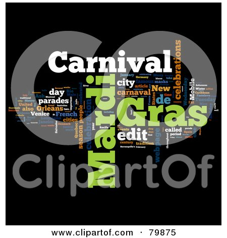 Royalty-Free (RF) Stock Illustration of a Collage Of Words; Mardi Gras - Version 2 by MacX