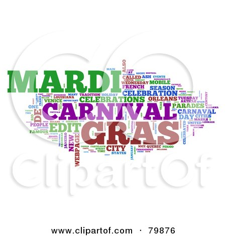 Royalty-Free (RF) Stock Illustration of a Collage Of Words; Mardi Gras - Version 3 by MacX