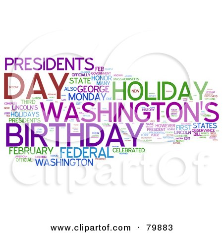 Royalty-Free (RF) Stock Clip Art of a Collage Of Words; Presidents Day - Version 3 by MacX