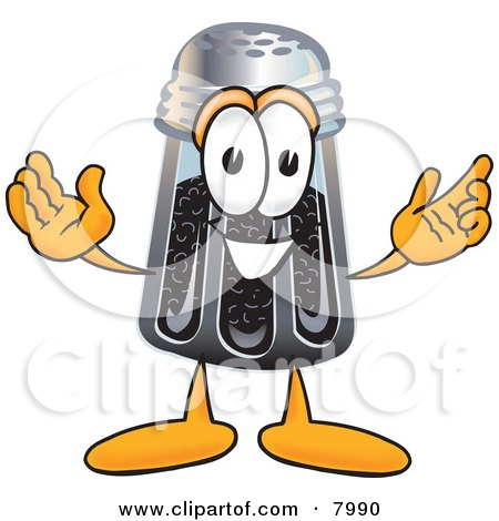 Clipart Picture of a Pepper Shaker Mascot Cartoon Character With Welcoming Open Arms by Toons4Biz