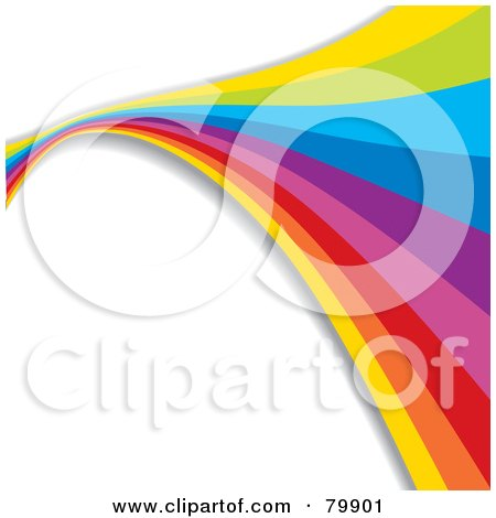 Royalty-Free (RF) Clipart Illustration of a Background Of A Rainbow Flowing Over White by MilsiArt