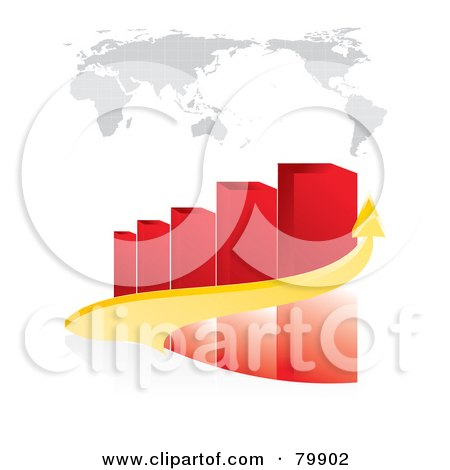 Royalty-Free (RF) Clipart Illustration of a 3d Yellow Arrow Curving Around A Red Bar Graph Under A Map by MilsiArt