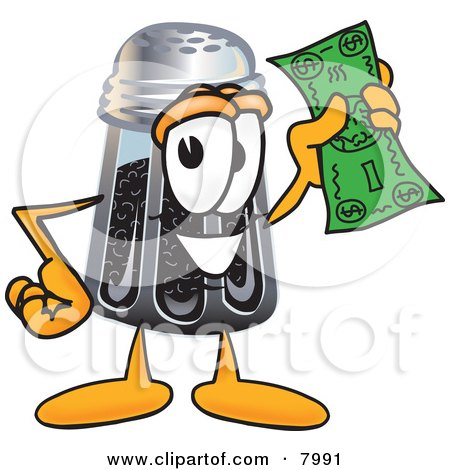 Clipart Picture of a Pepper Shaker Mascot Cartoon Character Holding a Dollar Bill by Toons4Biz