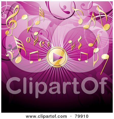 Royalty-Free (RF) Clipart Illustration of a Golden Music Play Button And Notes On A Pink Background by MilsiArt