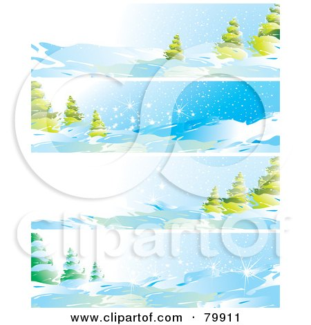 Royalty-Free (RF) Clipart Illustration of a Digital Collage Of Four Winter Landscape And Evergreen Website Banners by MilsiArt