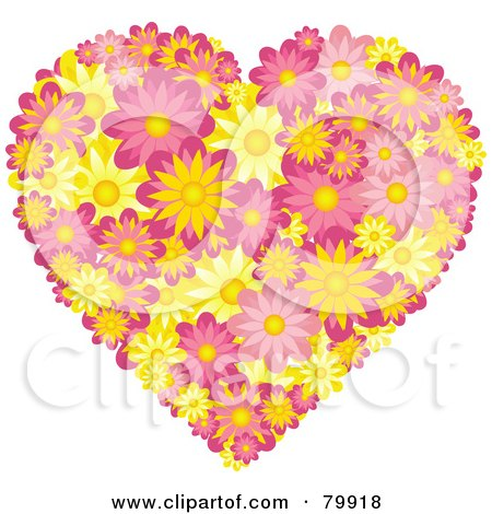 Royalty-Free (RF) Stock Illustration of a Pink And Yellow Heart Made Of Daisies by elaineitalia