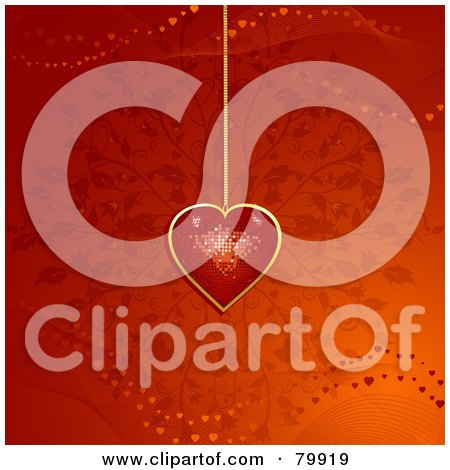 Royalty-Free (RF) Stock Illustration of a Red And Gold Disco Heart Pendant Over A Floral Background by elaineitalia