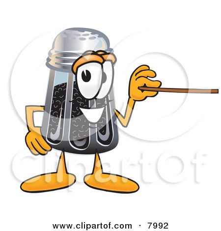 Clipart Picture of a Pepper Shaker Mascot Cartoon Character Holding a Pointer Stick by Toons4Biz