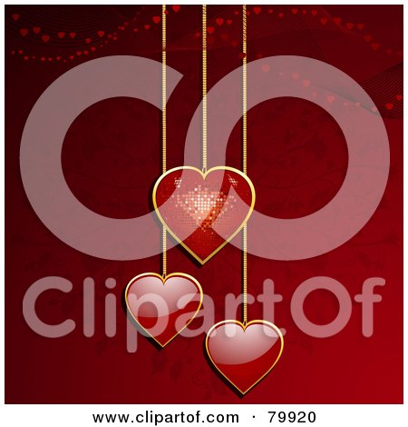Royalty-Free (RF) Stock Illustration of a Red Disco Heart And Two Red Heart Pendants Over A Red Floral Background by elaineitalia