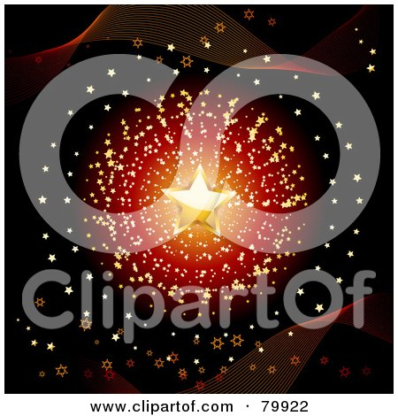 Royalty-Free (RF) Stock Illustration of a Golden Star Over A Burst Of Tiny Gold Stars On Black With Waves by elaineitalia