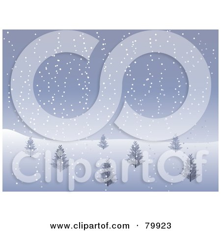 Royalty-Free (RF) Stock Illustration of a Hillside With Bare Trees In A Foggy Winter Landscape by elaineitalia