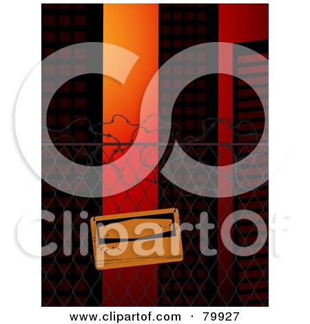 Royalty-Free (RF) Stock Illustration of a Blank Warning Sign Posted On A Wire Fence Near City Buildings by elaineitalia