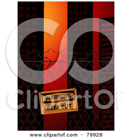 Royalty-Free (RF) Stock Illustration of a Warning Keep Out Sign Posted On A Wire Fence Near City Buildings by elaineitalia