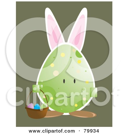 Royalty-Free (RF) Clipart Illustration of a Bunny Eared Egg Carrying An Easter Basket by Randomway
