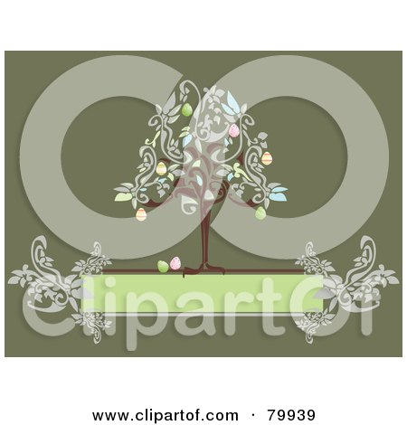 Royalty-Free (RF) Clipart Illustration of an Easter Egg Tree On Top Of A Floral Green Text Box by Randomway