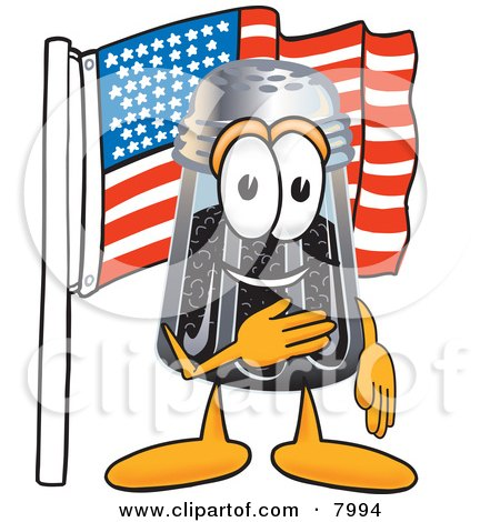 Clipart Picture of a Pepper Shaker Mascot Cartoon Character Pledging Allegiance to an American Flag by Toons4Biz