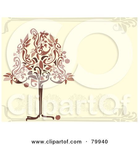 Royalty-Free (RF) Clipart Illustration of a Red And Brown Apple Tree On A Beige Orchard Background by Randomway