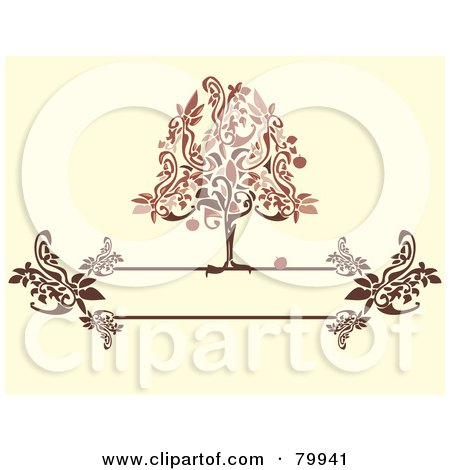 Royalty-Free (RF) Clipart Illustration of a Red And Brown Apple Tree On A Floral Text Box Over Beige by Randomway