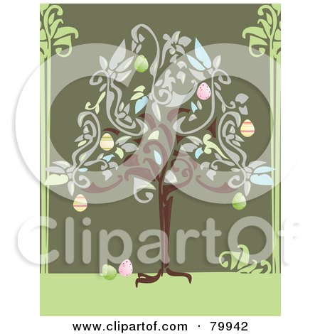 Royalty-Free (RF) Clipart Illustration of an Easter Tree Growing Colorful Eggs by Randomway