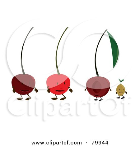 Royalty-Free (RF) Clipart Illustration of a Digital Collage Of Four Cherry Fruit Characters by Randomway