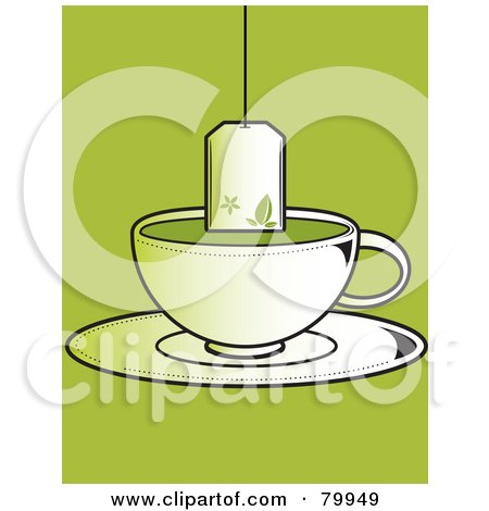 Tea Bag Suspended Over A Cup Of Green Tea On A Saucer Posters, Art Prints