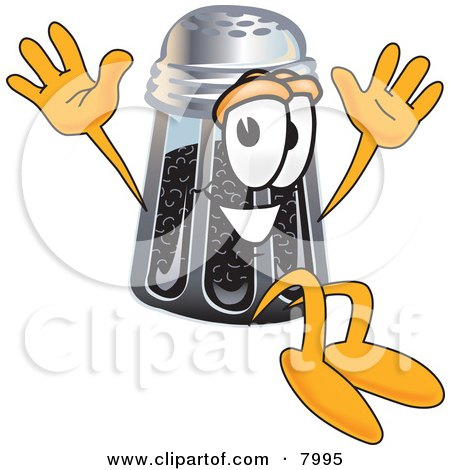 Clipart Picture of a Pepper Shaker Mascot Cartoon Character Jumping by Toons4Biz