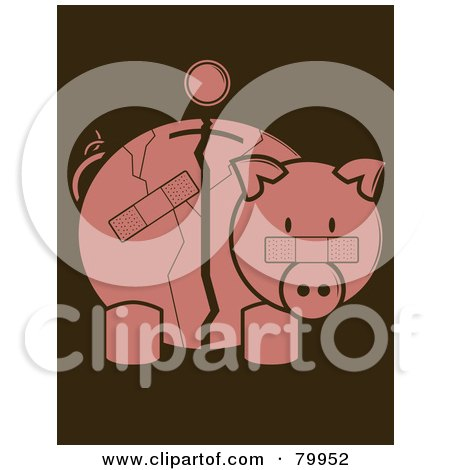 Coin Over A Cracked And Bandaged Piggy Bank Posters, Art Prints