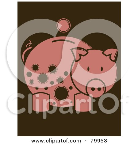 Coin Over A Pink Piggy Bank With Brown Spots Posters, Art Prints