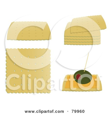 Royalty-Free (RF) Clipart Illustration of a Digital Collage Of Single, Stacked And Garnished Crackers by Randomway