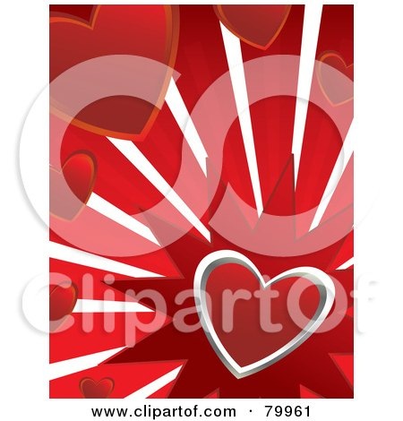 Silver Heart Bursting On Red With Other Hearts Posters, Art Prints