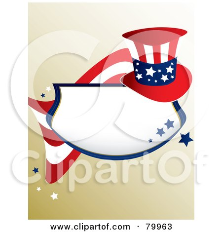 Royalty-Free (RF) Clipart Illustration of a Patriotic American Plaque With Blue Stars, A Flag And Hat On Gradient Brown by Randomway