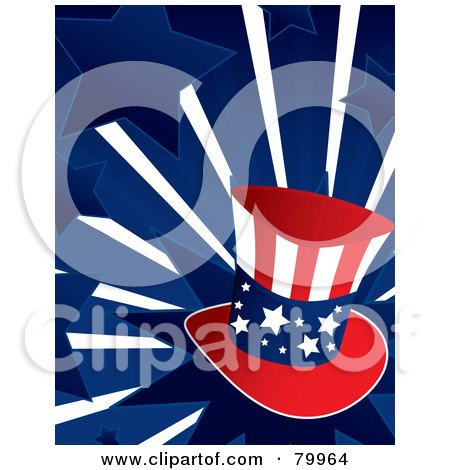 Royalty-Free (RF) Clipart Illustration of a Patriotic Uncle Sam Hat On A Bursting Blue Star Background by Randomway