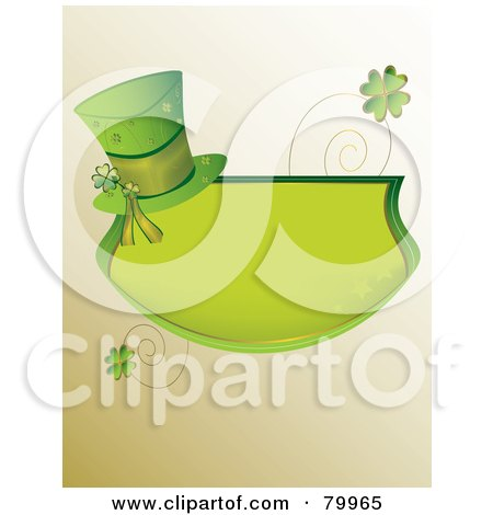 Green St Paddy's Day Text Box With A Hat, Spirals And Shamrocks Posters, Art Prints