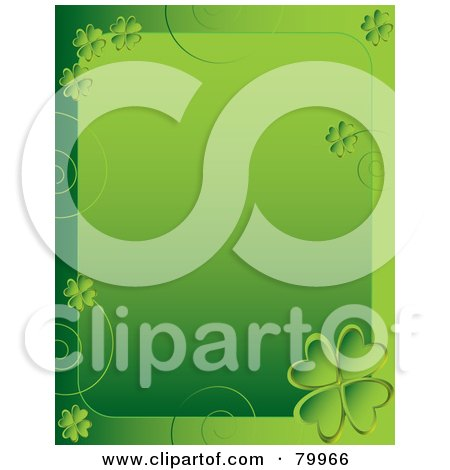 Green St Paddy's Day Background With Clover Swirl Borders Posters, Art Prints