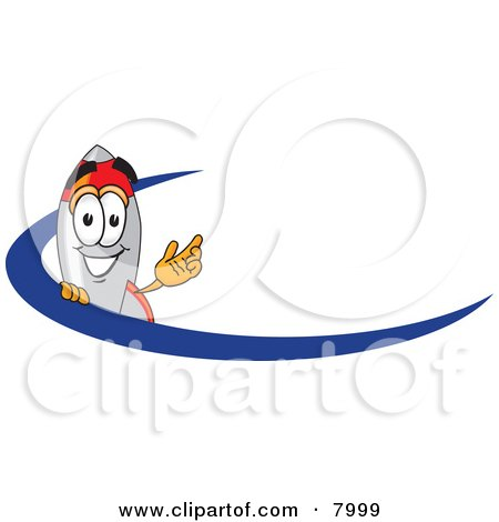Clipart Picture of a Rocket Mascot Cartoon Character With a Blue Dash by Toons4Biz