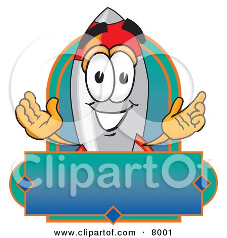 Clipart Picture of a Rocket Mascot Cartoon Character With a Blank Label by Toons4Biz