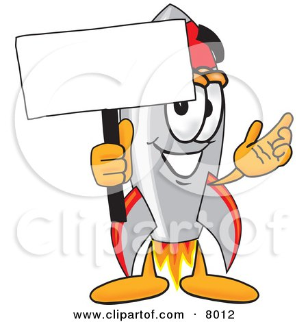 Clipart Picture of a Rocket Mascot Cartoon Character Holding a Blank Sign by Toons4Biz