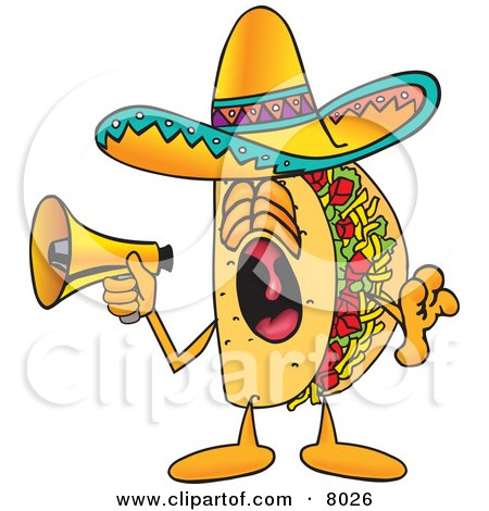 Clipart Picture of a Taco Mascot Cartoon Character Screaming Into a Megaphone by Toons4Biz
