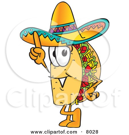 Clipart Picture of a Taco Mascot Cartoon Character Pointing Upwards by Toons4Biz