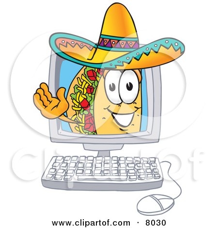 Clipart Picture of a Taco Mascot Cartoon Character Waving From Inside a Computer Screen by Toons4Biz