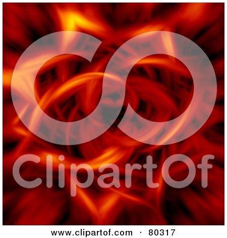 Royalty-Free (RF) Clipart Illustration of a Fiery Background With Flames Forming A Tunnel That Resembles Flower Petals by oboy