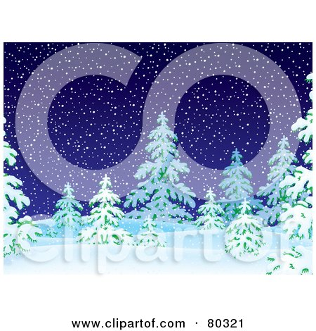 Royalty-Free (RF) Clipart Illustration of a Dark Snowing Night With Flocked Evergreen Trees by Alex Bannykh