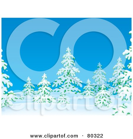 Royalty-Free (RF) Clipart Illustration of Flocked Evergreen Trees In Snow On A Blue Winter Day by Alex Bannykh