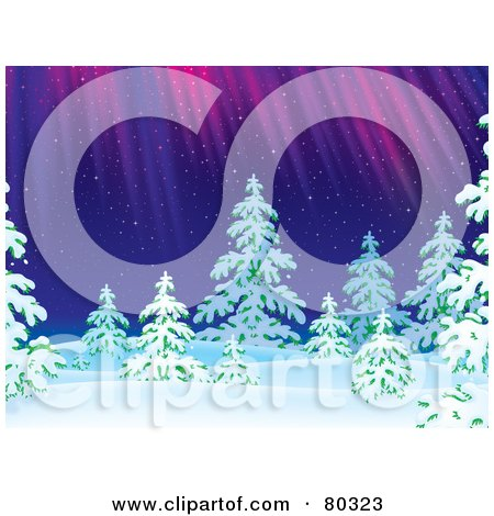 Royalty-Free (RF) Clipart Illustration of The Northern Lights Shining Down On Evergreen Trees On A Snowing Winter Night by Alex Bannykh