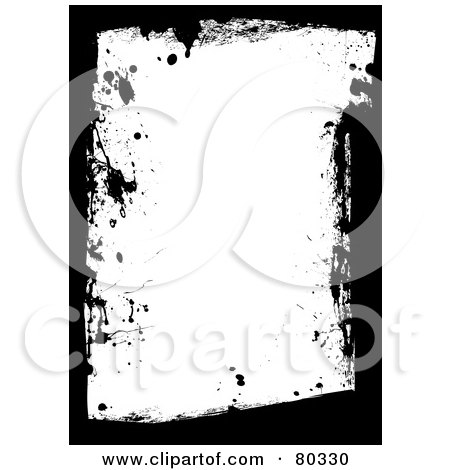 Royalty-Free (RF) Clipart Illustration of a Black And White Grungy Splatter And Smear Border by michaeltravers