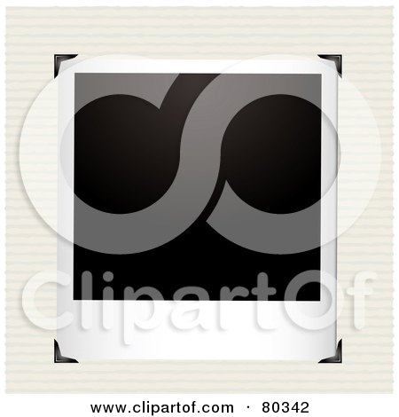 Royalty-Free (RF) Clipart Illustration of a Blank Polaroid Picture With Corner Clasps On Ruled Paper by michaeltravers
